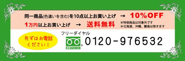 同一商品(色違いを含む)を10点以上お買い上げで10%OFF、1万円以上お買い上げで送料無料